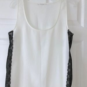Silk Tank with Black Lace Detail